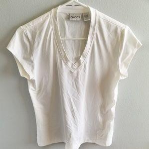 Chicos White Medium Short Sleeve Top